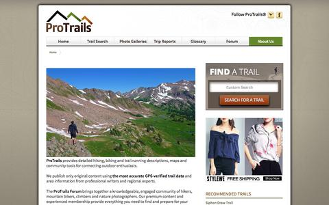 Screenshot of About Page protrails.com - ProTrails | About Us - captured May 22, 2017