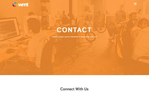 Screenshot of Contact Page wmt.digital - WMT   Contact Us   Full Service Digital Marketing Agency - captured Oct. 20, 2018