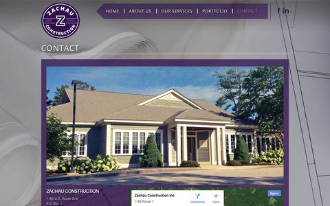 Screenshot of Contact Page zachauconstruction.com - CONTACT - Zachau Construction - captured Oct. 27, 2014