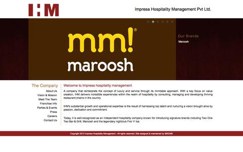 Screenshot of Home Page ihmpl.in - IHM - Welcome to Impresa Hospitality Management - captured Oct. 4, 2014