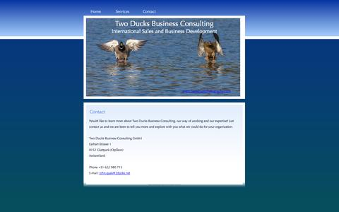 Screenshot of Contact Page 2ducks.net - Two Ducks Business Consulting GmbH, learn more about our way of working and expertise and john quak - captured Nov. 5, 2014