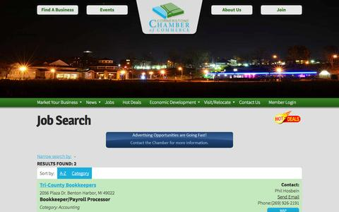 Screenshot of Jobs Page cornerstonechamber.com - Job Search - Cornerstone Chamber of Commerce - captured Oct. 3, 2014