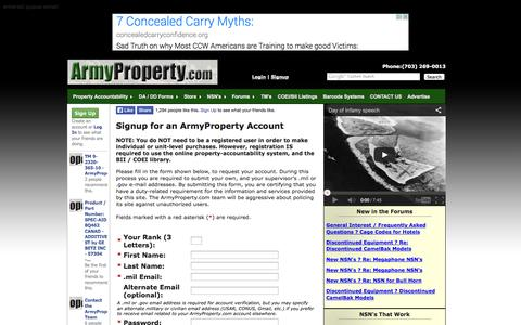 Screenshot of Signup Page armyproperty.com - Get Started with ArmyProperty.com - captured Sept. 24, 2014
