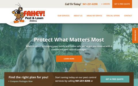 Screenshot of Home Page faheypest.com - Pest Control & Lawn Care in Sarasota FL | Fahey Pest and Lawn - captured Oct. 10, 2018