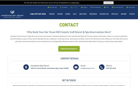 Screenshot of Contact Page hsbresort.com - Texas Hill Country Resort Reservations - Horseshoe Bay Resort - captured Aug. 18, 2019