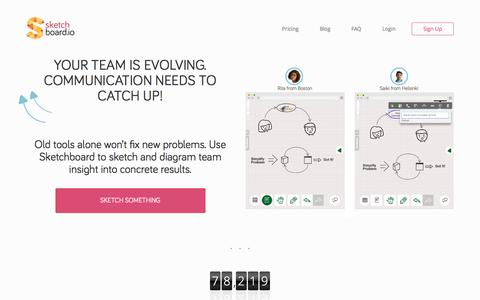 Screenshot of Home Page sketchboard.io - Sketchboard.io: Online Sketch Diagramming Whiteboard for Teams - captured May 3, 2016