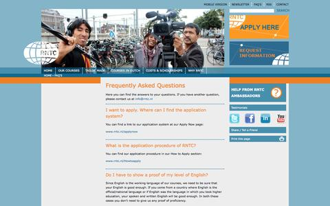 Screenshot of FAQ Page rntc.nl - Frequently Asked Questions | RNTC - captured Oct. 7, 2014