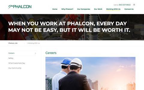 Screenshot of Jobs Page phalconusa.com - Working With Us - Phalcon, Ltd. - captured Nov. 22, 2017