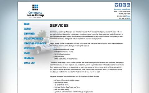 Screenshot of Services Page commerceleasegroup.com - Commercial Fleet Leasing Services for Commercial Vehicles - captured Oct. 28, 2014