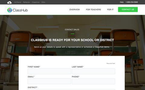 Screenshot of Contact Page airsquirrels.com - Contact ClassHub Sales Team - captured April 17, 2017