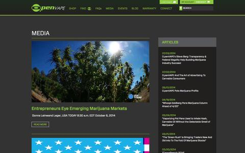 Screenshot of Press Page openvape.com - Open Vape - captured Oct. 27, 2014