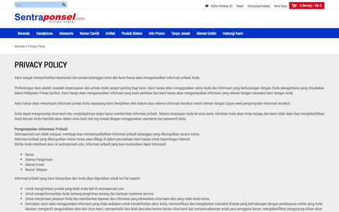 Screenshot of Privacy Page sentraponsel.com - Privacy Policy - captured Sept. 19, 2014