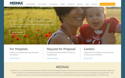 Screenshot of Home Page mednax.com - MEDNAX | Take great care of the patient® - captured Jan. 15, 2015