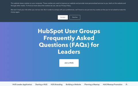 Screenshot of FAQ Page hubspot.com - HubSpot User Group FAQs - captured Oct. 23, 2018