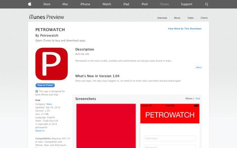 Screenshot of iOS App Page apple.com - PETROWATCH on the App Store on iTunes - captured Oct. 28, 2014