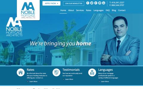 Screenshot of Home Page noblemortgages.ca - Mortgage Rates Toronto | Noble Mortgage Architects - captured Feb. 21, 2016