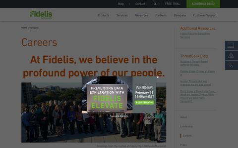 Screenshot of Jobs Page fidelissecurity.com - Cyber Security Jobs | Engineers, IT, Threat Research | Fidelis - captured Feb. 13, 2019