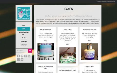 Screenshot of Menu Page meringuebakeshop.com - Menu - Meringue Bake Shop - captured Oct. 27, 2014