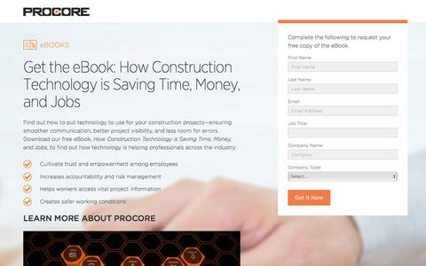 Screenshot of Landing Page procore.com - Procore - captured May 20, 2016