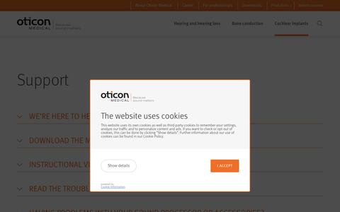 Screenshot of Support Page oticonmedical.com - Support  | Cochlear implants | Oticon Medical - captured July 9, 2019