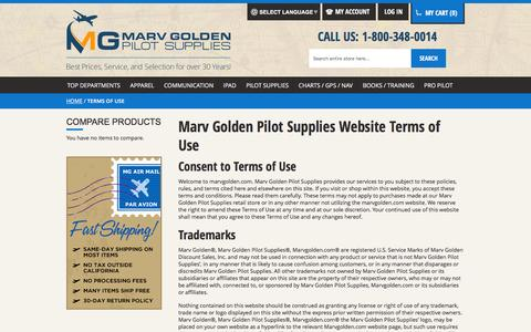 Screenshot of Terms Page marvgolden.com - Terms of Use  - Marv Golden Pilot Supplies - captured Feb. 12, 2016