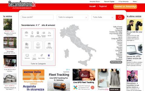 Screenshot of Home Page secondamano.it - SECONDAMANO - ANNUNCI GRATUITI IMMOBILI, MOTORI, LAVORO, INCONTRI, ASTE - captured Sept. 23, 2018