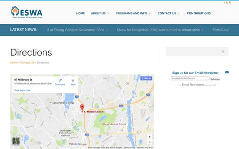 Screenshot of Maps & Directions Page eswa.org - Directions   ESWA - captured Nov. 2, 2016