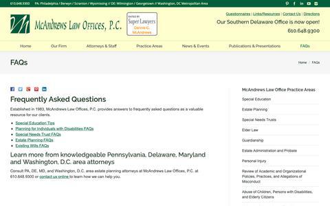 Screenshot of FAQ Page mcandrewslaw.com - FAQs - McAndrews Law Firm - captured Oct. 17, 2018