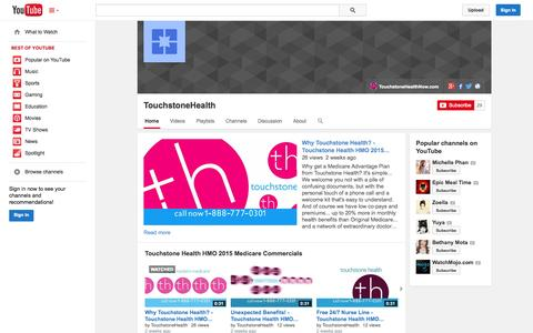 Screenshot of YouTube Page youtube.com - TouchstoneHealth  - YouTube - captured Oct. 22, 2014
