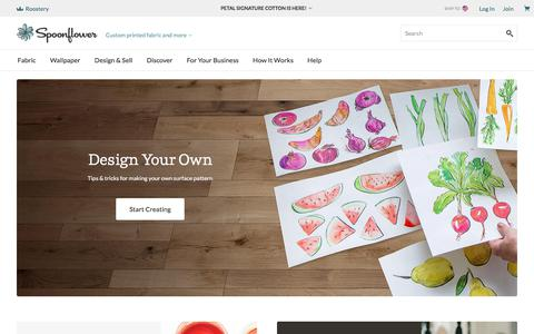 Screenshot of Home Page spoonflower.com - Spoonflower | Shop the world's largest marketplace of independent surface designers - captured July 21, 2019