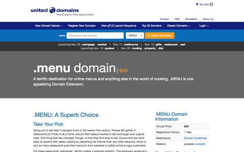 Screenshot of Menu Page uniteddomains.com - .MENU Domain Name Extension Registration • United Domains - captured Oct. 27, 2014