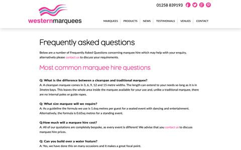 Screenshot of FAQ Page westernmarquees.co.uk - FAQ | Western Marquees - captured Oct. 20, 2018