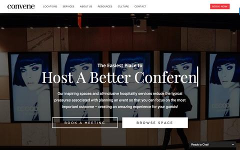 Screenshot of Home Page convene.com - Convene - Meeting Rooms, Event Spaces, & Conference Centers - captured March 15, 2017