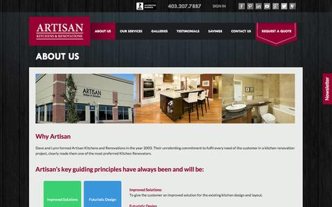 Screenshot of About Page artisankitchens.ca - About Artisan Kitchens and Renovations - captured Oct. 4, 2014
