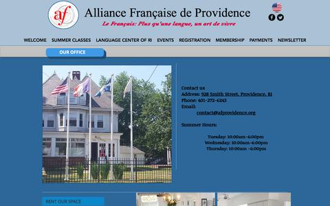 Screenshot of Contact Page Hours Page afprovidence.org - Alliance Française de Providence | OUR OFFICE - captured July 6, 2017