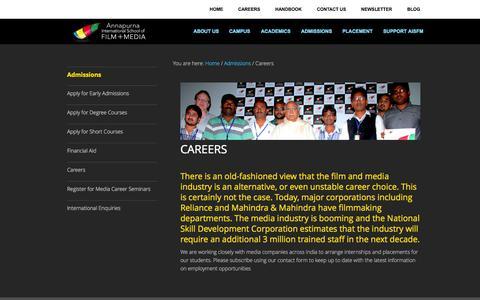 Screenshot of Jobs Page aisfm.edu.in - Film Careers | Annapurna International School of Film + Media - AISFM - captured Sept. 19, 2014