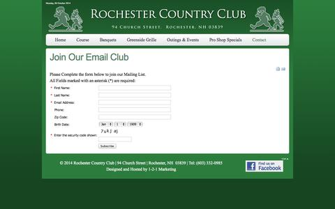 Screenshot of Signup Page rochestercc.com - Rochester Country Club - A Public Golf Course in Rochester, New Hampshire - Join Our Email Club - captured Oct. 6, 2014
