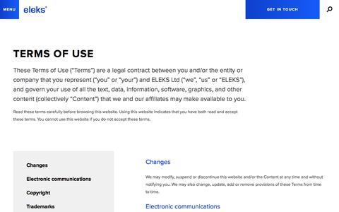 Screenshot of Terms Page eleks.com - Terms of Use | ELEKS - captured Oct. 9, 2017