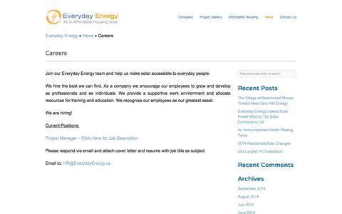 Screenshot of Jobs Page everydayenergy.us - Everyday Energy Careers » Everyday Energy - captured Oct. 3, 2014