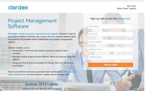 Screenshot of Landing Page clarizen.com - Project Management Software l Clarizen - captured April 8, 2016
