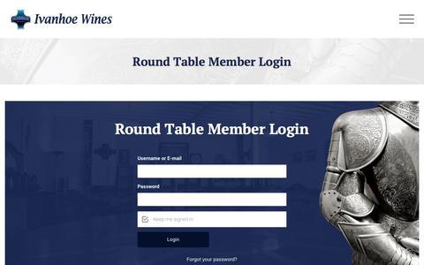 Screenshot of Login Page ivanhoewines.com.au - Round Table Member Login - Ivanhoe Wines - captured Sept. 20, 2018