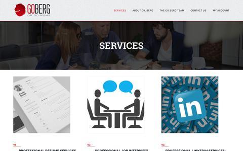 Screenshot of Services Page gobergorgohome.com - Professional Career Services   Go Berg Or Go Home - captured Nov. 5, 2018