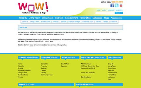Screenshot of Services Page nowatwow.com - Furniture Store Near Denver (Centennial) Colorado - WOW: Living Room, Dining Room, Bedroom & Home Office Furniture - Mattresses, Rugs & Accessories - captured Oct. 7, 2014