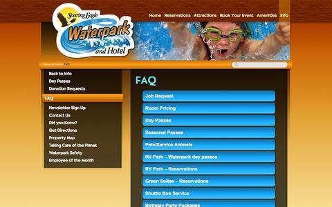 Screenshot of FAQ Page soaringeaglewaterpark.com - Waterpark FAQ - captured Oct. 6, 2014