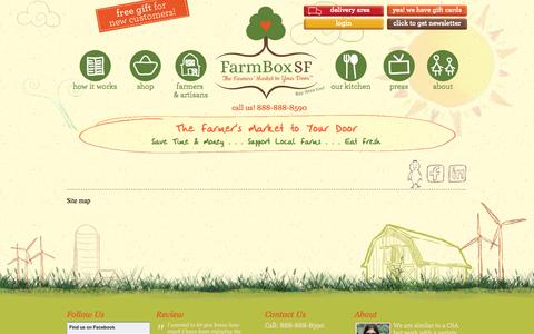 Screenshot of Site Map Page farmboxsf.com - FarmBox - The Farmer's Market to Your Door  :: Site map - captured Sept. 22, 2014