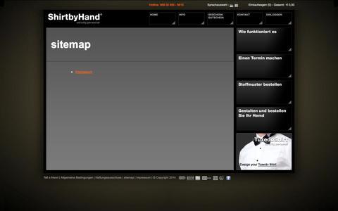 Screenshot of Site Map Page shirtbyhand.de - Shirtbyhand - captured Nov. 4, 2014