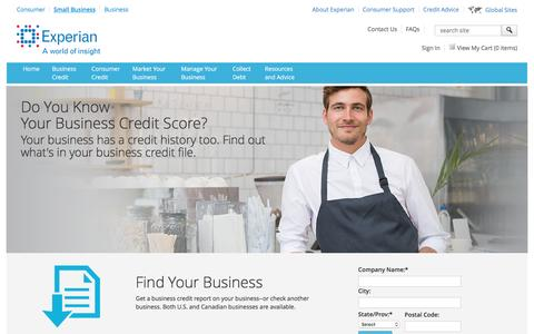Screenshot of Services Page experian.com - Small Business Marketing Services and Business Credit Report Services from Experian - captured Nov. 6, 2016