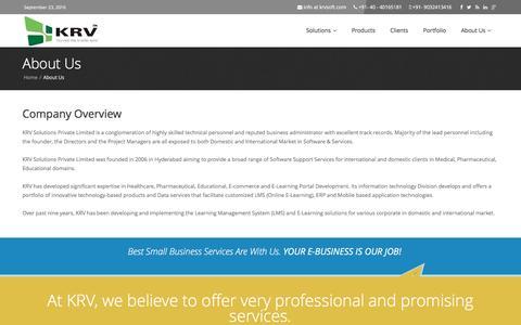 Screenshot of About Page krvsoft.com - KRV Solutions Pvt Ltd : About Us - captured Sept. 23, 2016