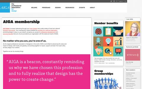Screenshot of Signup Page aiga.org - AIGA | the professional association for design - captured Oct. 20, 2015