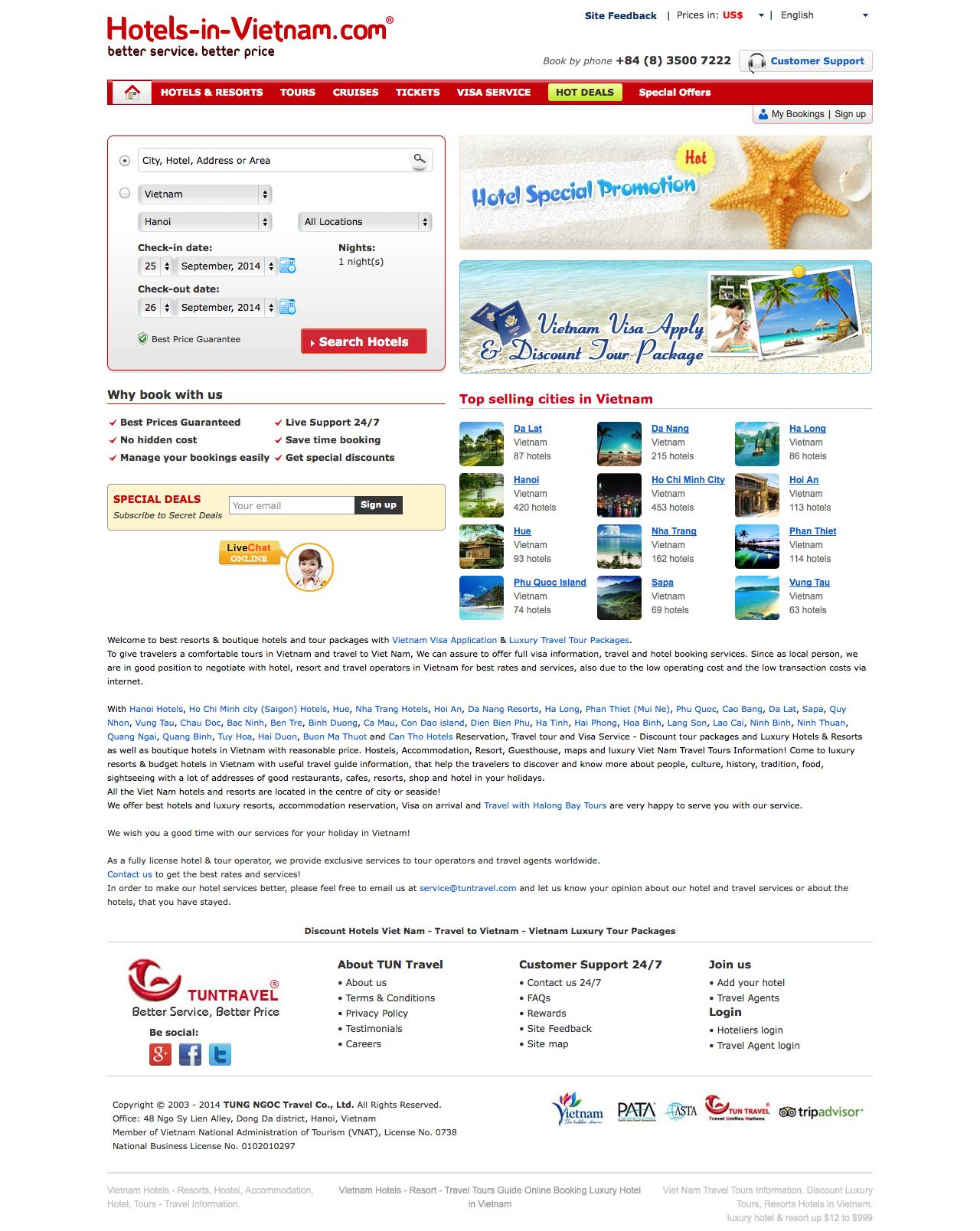 Screenshot of hotels-in-vietnam.com - Vietnam Hotels - Travel to Vietnam: Book Hotel & Hostels - captured Sept. 24, 2014